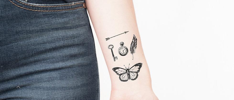5x Vintage Tiny Temporary Tattoos