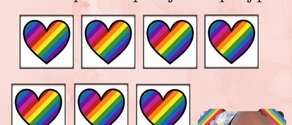 12 Rainbow Heart Temporary Tattoos Party Pack