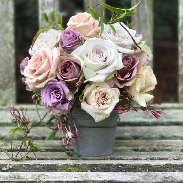 Antique Roses in French Pail