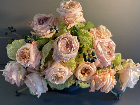 Garden Roses & Savoy Cabbage In Repurposed House Plant Container