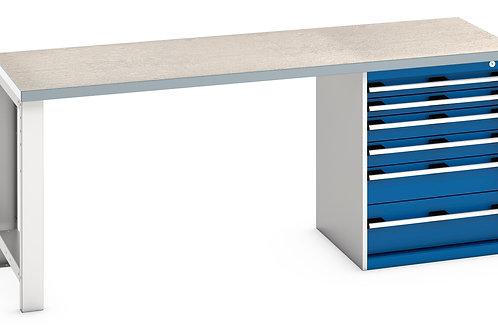 Cubio Pedestal Bench (Lino) 2000 x 750 x 840mm