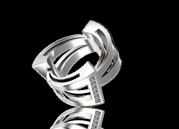Bague triphazé large or et diamants