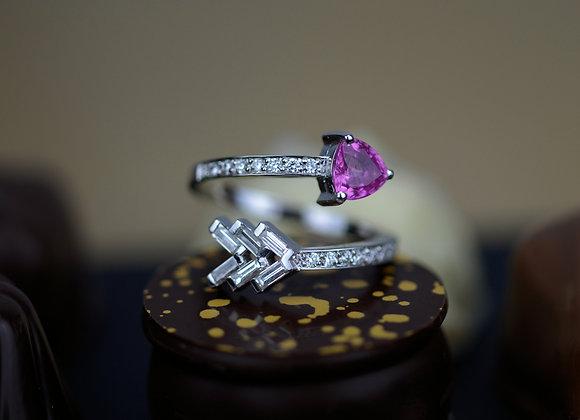 Bague flèche or blanc saphir rose et diamants