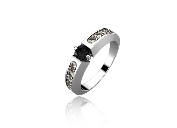 Bague or, diamants blanc et noirs