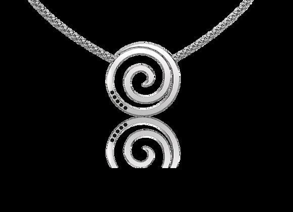 Collier spirale argent rhodié et oxydes noirs