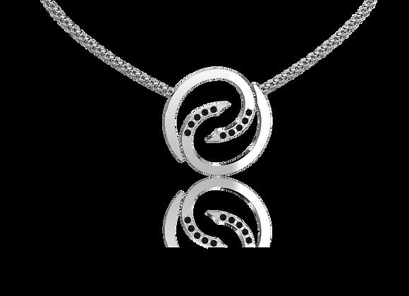 Collier spirale or et diamants noirs