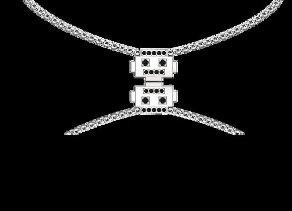 Collier robot argent rhodié oxydes noirs