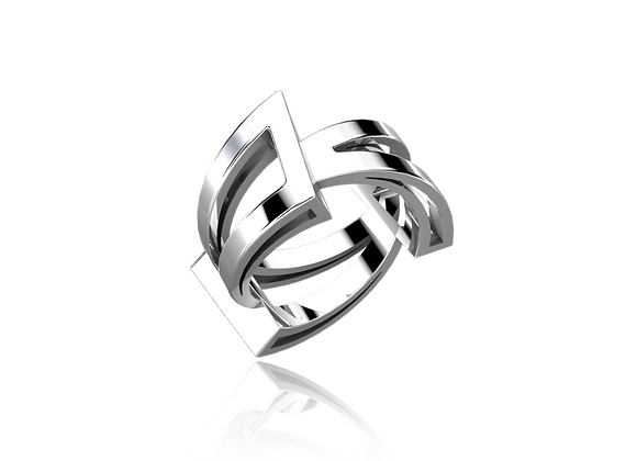 Bague triphazé argent 925/1000 rhodié