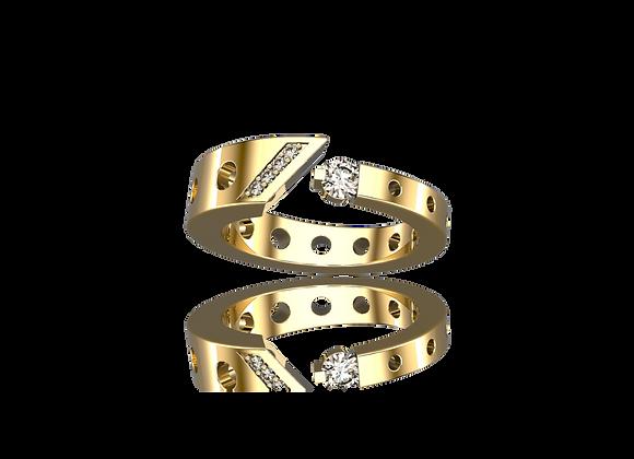 Bague M-tal simple or et diamants