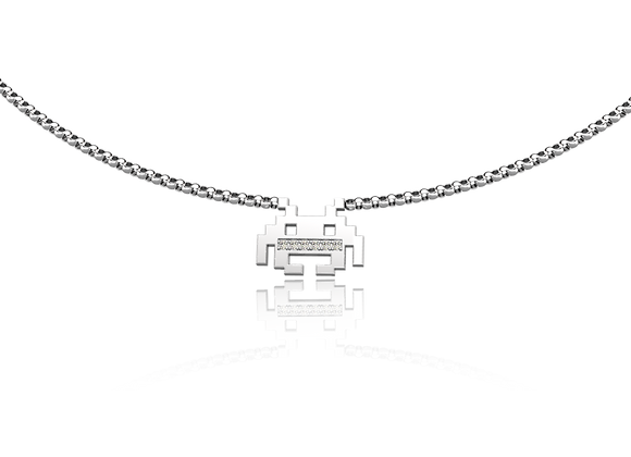 Collier pixels or et diamants