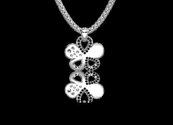 Pendentif fleur or et diamants noirs