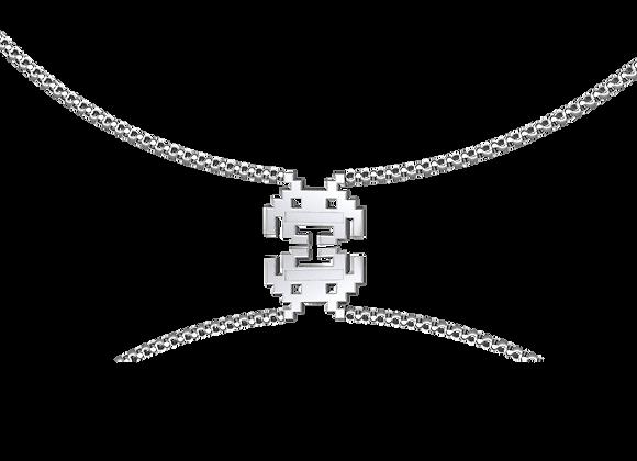 Collier pixels argent rhodié