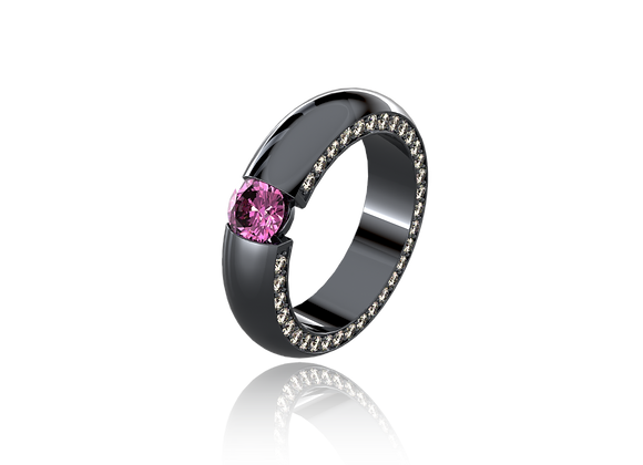 Bague tension or, diamants, saphir rose et rhodium