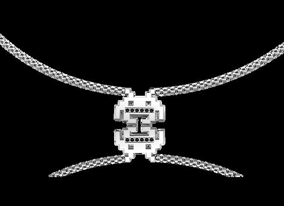 Collier pixels argent rhodié oxydes noirs