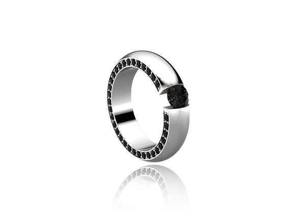 Bague sertie tension or et diamants noirs