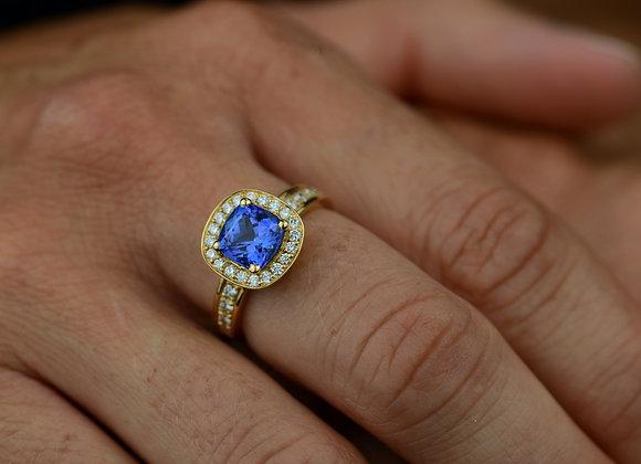 Bague or jaune tanzanite et diamants