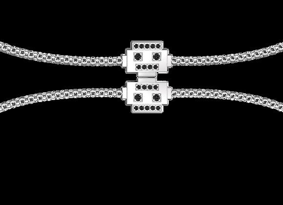 Bracelet robot argent rhodié et oxydes noirs