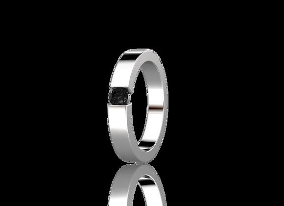 Bague sertie tension or et diamant noir