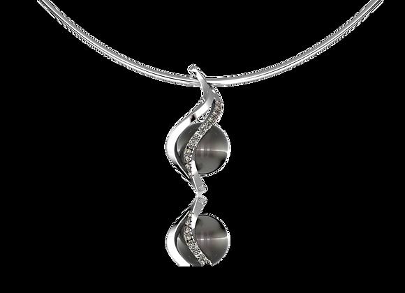 Pendentif vrille or, perle et diamants