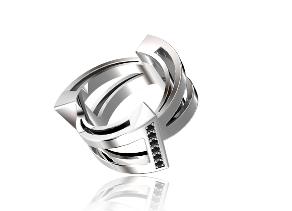Bague triphazé large or et diamants noirs
