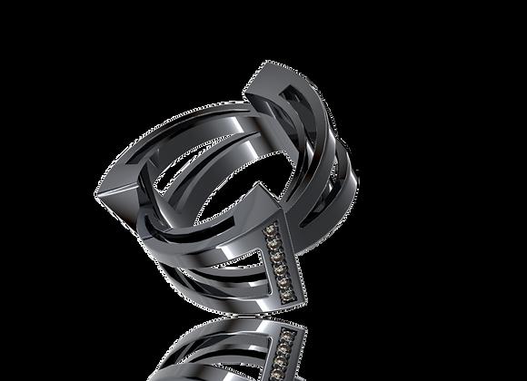 Bague triphazé large or diamants et rhodiage noir