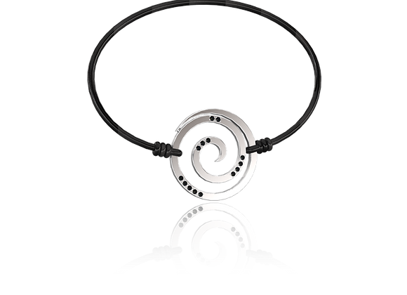 Bracelet spirale or et diamants noirs