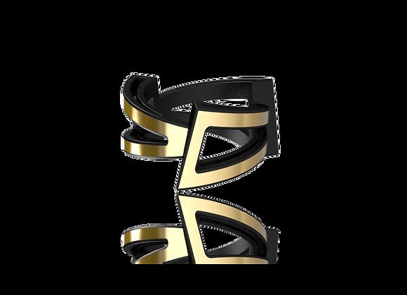 Bague triphazé large or brossé / rhodiage