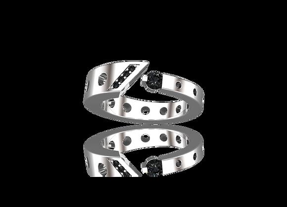 Bague M-tal simple or et diamants noirs