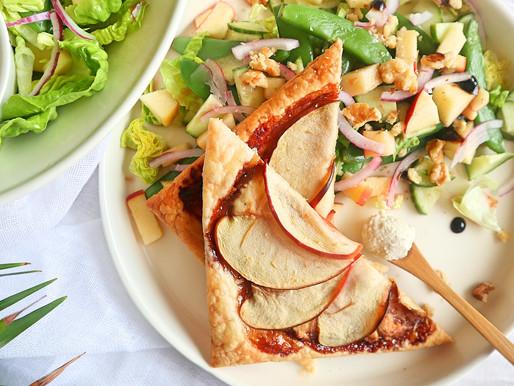 RECEPT: groene salade met bladerdeeghapjes van appel en Palais natuur (heerlijk fris)