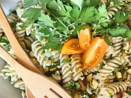 RECEPT: frisse pasta pesto (meal-prep friendly side dish)