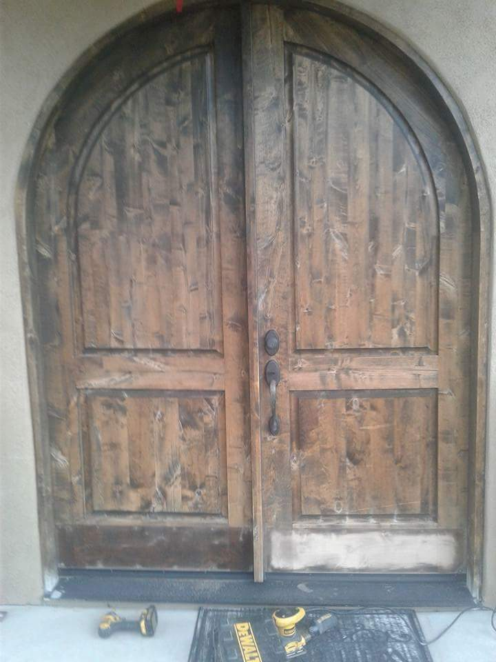 Repair and refinish entrance door