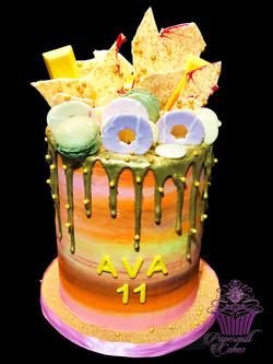 Gold Drip Rainbow Cake