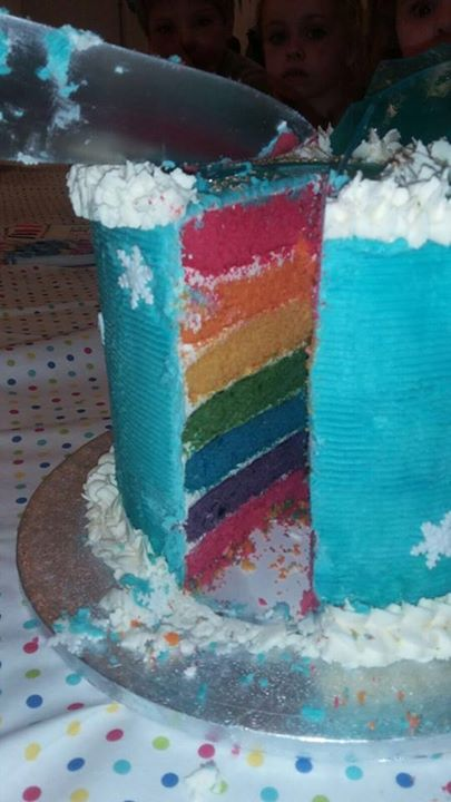 The vibrant rainbow colours of the rainbow cake