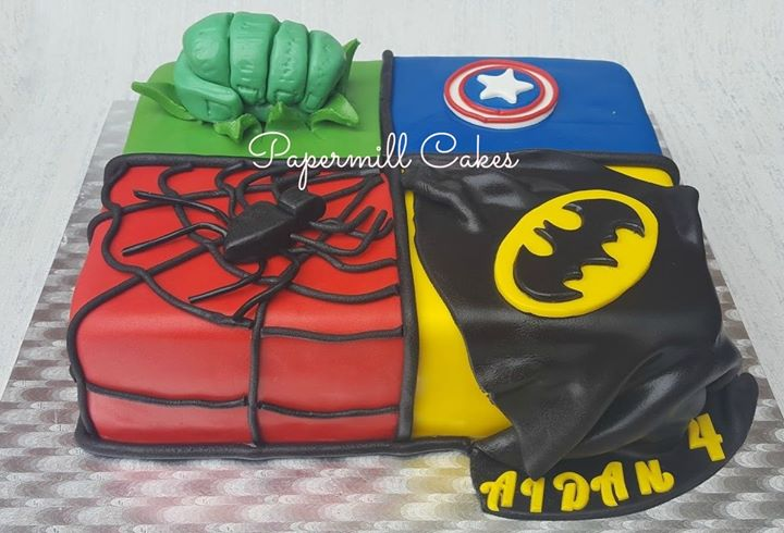Superhero Cake! Loved making this one.  Half chocolate and half vanilla