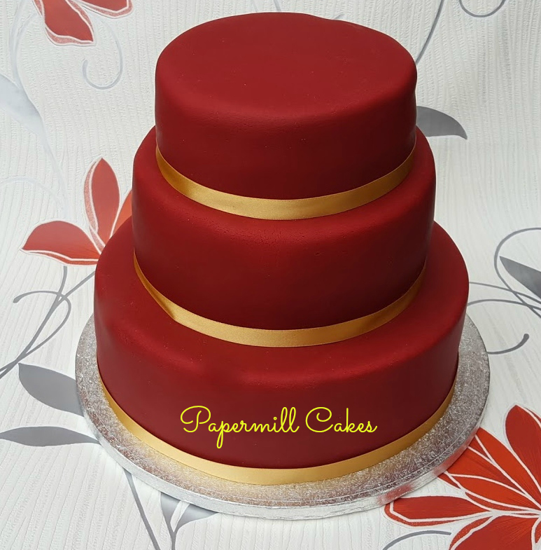 3 tiered Deep red Celebration cake