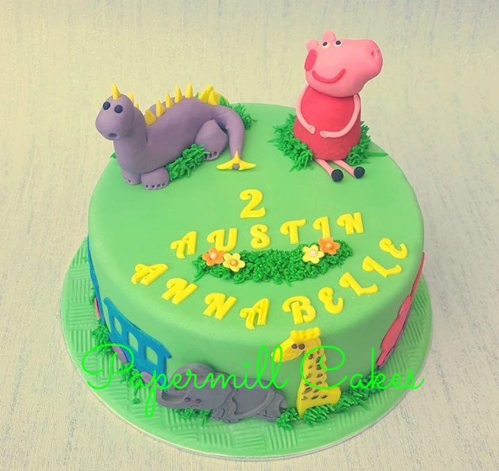 Peppa, Dinosaur, Train, Animals.  Not much room to fit much else on! Loved making this cake