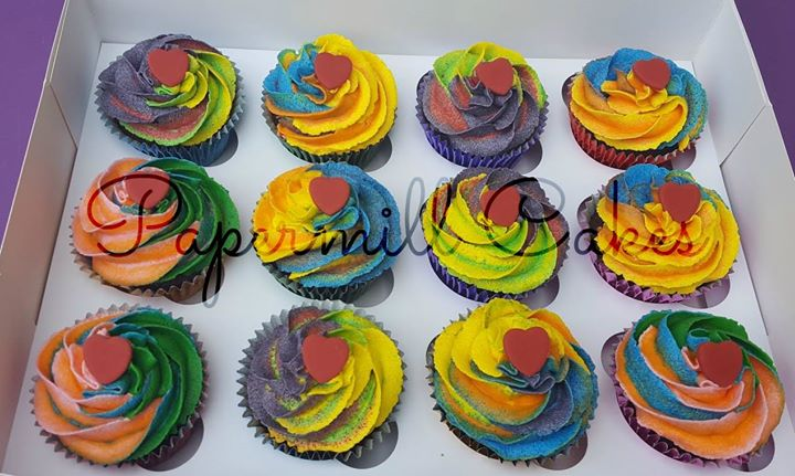 Rainbow cupcakes! These ones are yummy chocolate flavour cupcakes with a vanilla buttercream