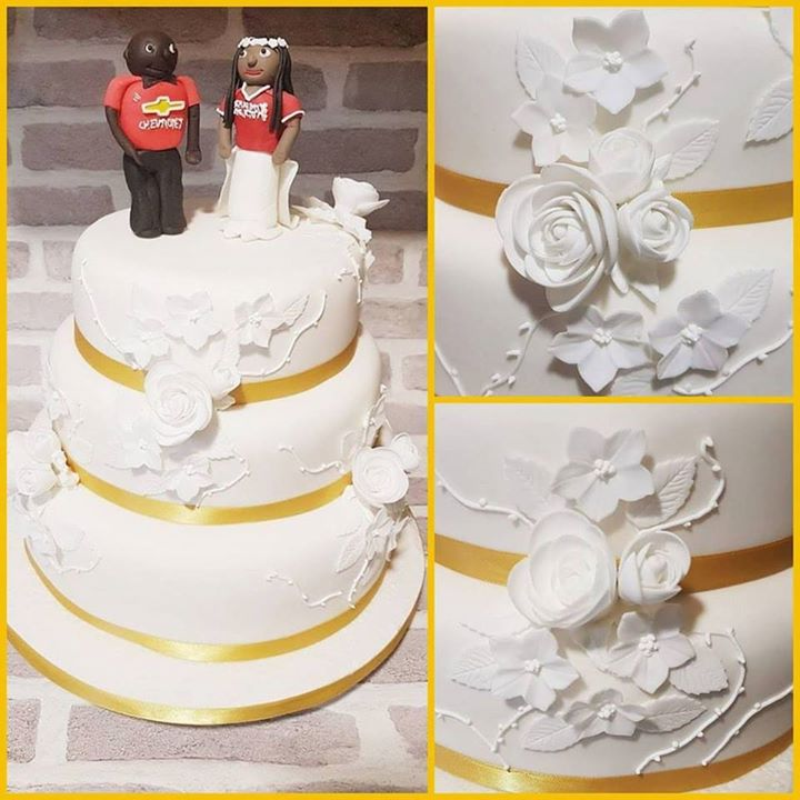 Football themed wedding cake
