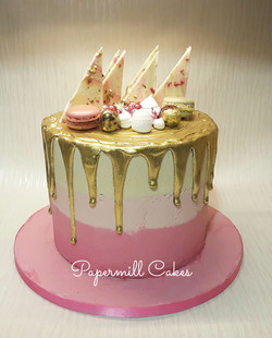 Ombre Cake with a metallic gold drip