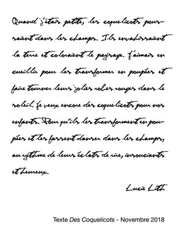 """Texte """"Des coquelicots"""", Lucie Lith"""