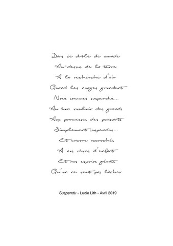 "Texte ""Suspendu"", Lucie Lith"