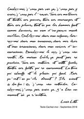"Texte ""Cachez-moi, Lucie Lith"