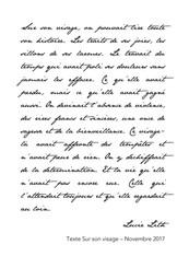 """Texte """"Sur son visage"""", Lucie Lith"""