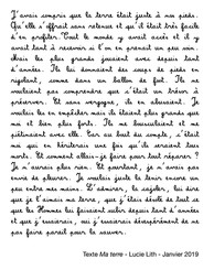 """Texte """"Ma terre"""", Lucie Lith"""