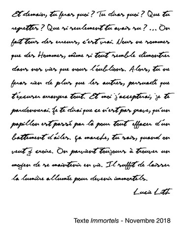 """Texte """"Immortels"""", Lucie Lith"""