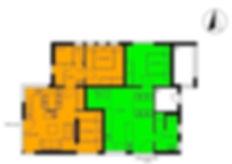 """orange = Wohnung """"Wind"""", grün"""" = Wohnung """"Wasser"""""""