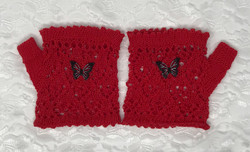 Red Fingerless Lace Wristlets