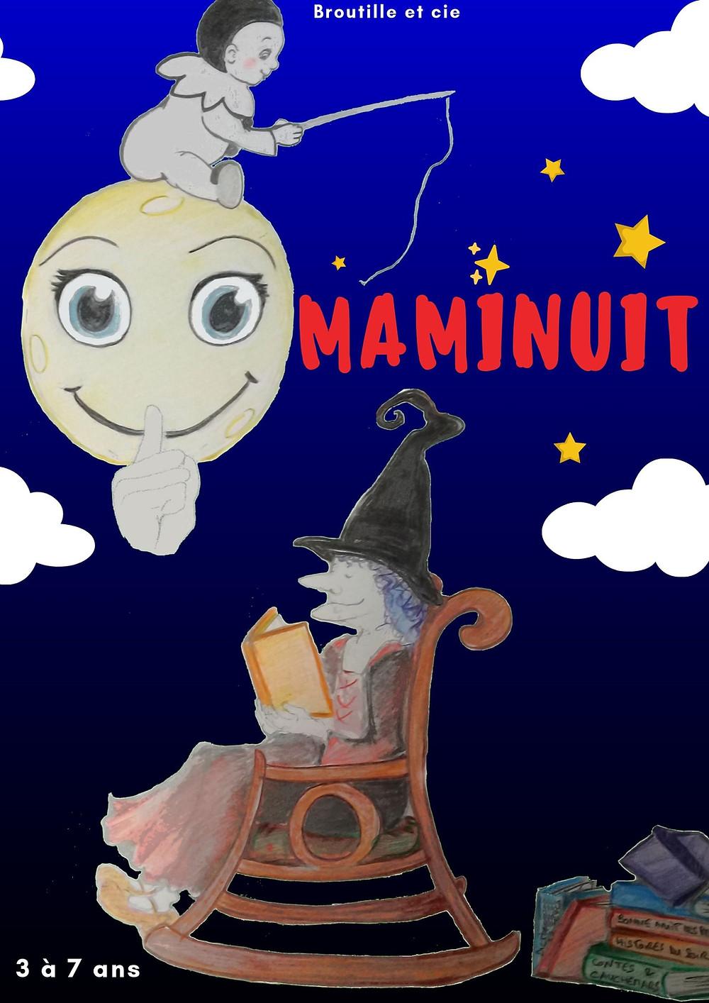 Maminuit est sur son fauteuil avec ses livres. Elle va nous raconter ses histoires car la nuit est tombée...