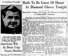 Hinchliffe Babe Ruth visits newspaper cl