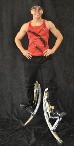 Rocker in red costume